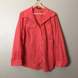 Jones New York Coral Button-Up